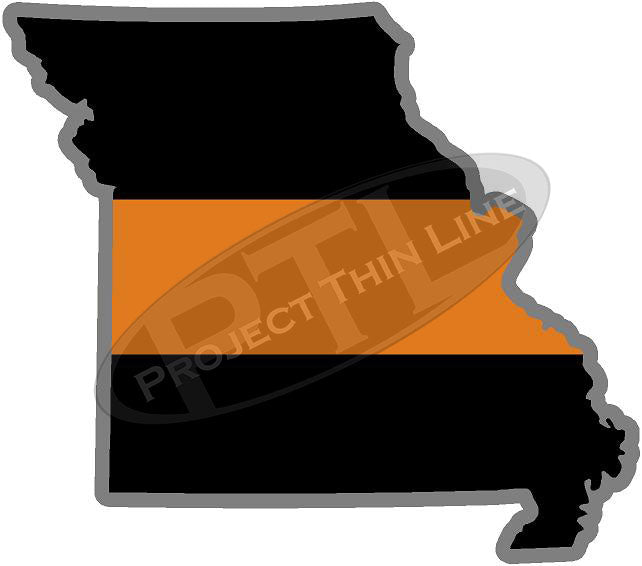 "5"" Missouri MO Thin Orange Line Black State Shape Sticker"