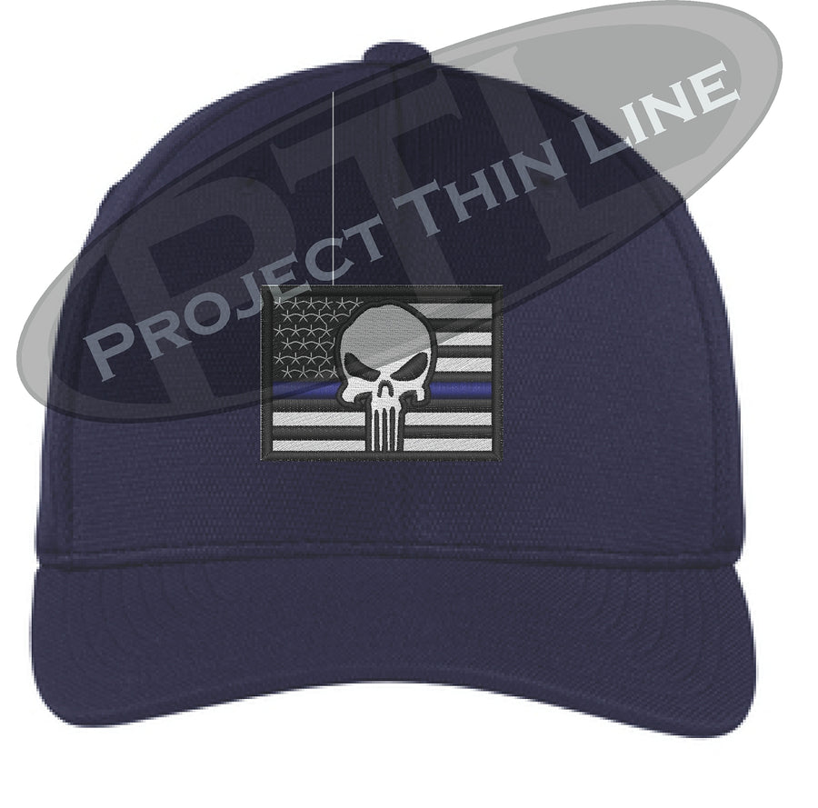 Embroidered Thin Blue American Flag - Skull Flex Fit Fitted TRUCKER Hat