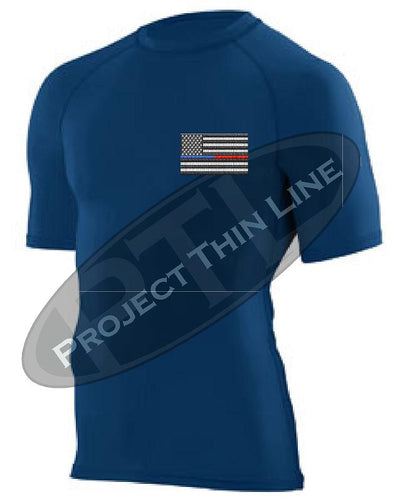 NAVY Embroidered Thin Blue / RED Line American Flag Short Sleeve Compression Shirt