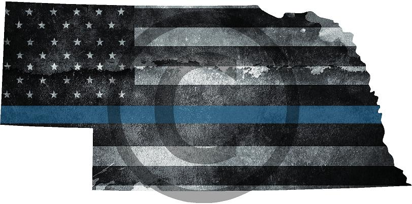 "5"" Nebraska NE Tattered Thin Blue Line State Sticker Decal"