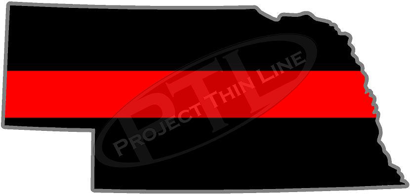 "5"" Nebraska NE Thin Red Line State Sticker Decal"