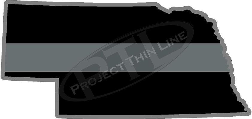 "5"" Nebraska NE Thin Silver Line Black State Shape Sticker"