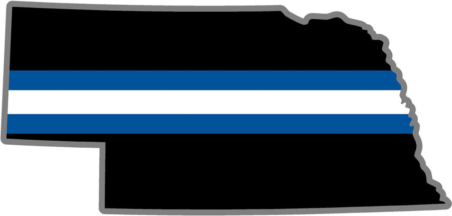 "5"" Nebraska NE Thin Blue White Line Black State Shape Sticker"