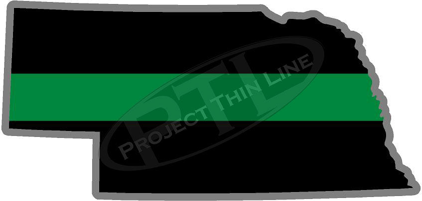 "5"" Nebraska NE Thin Green Line Black State Shape Sticker"