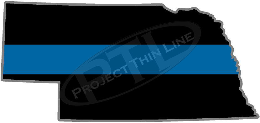 "5"" Nebraska NE Thin Blue Line State Sticker Decal"