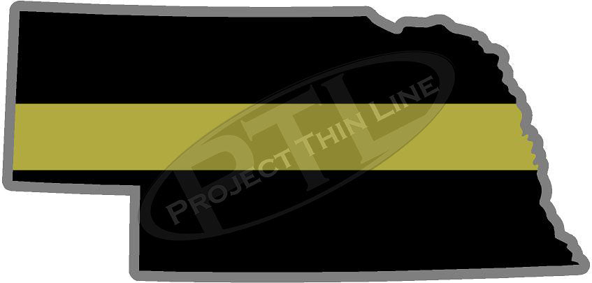"5"" Nebraska NE Thin Gold Line State Sticker Decal"