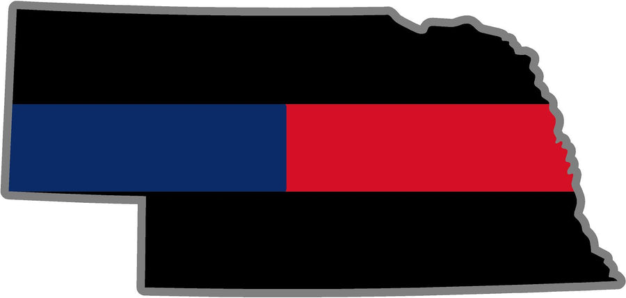 "5"" Nebraska NE Thin Blue / Red Line Black State Shape Sticker"
