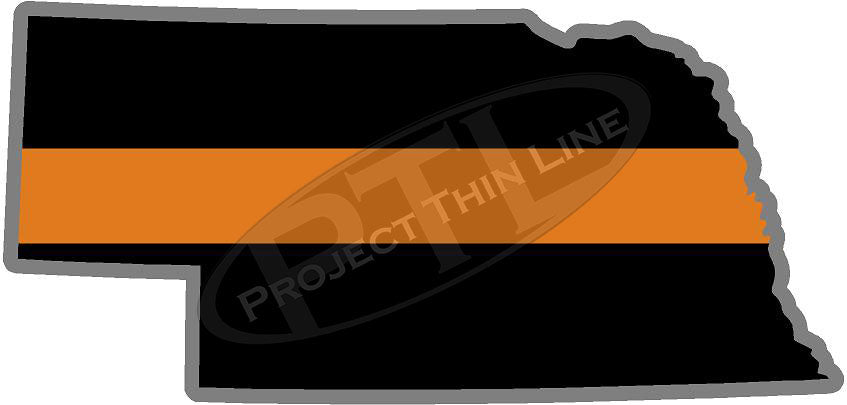 "5"" Nebraska NE Thin Orange Line Black State Shape Sticker"