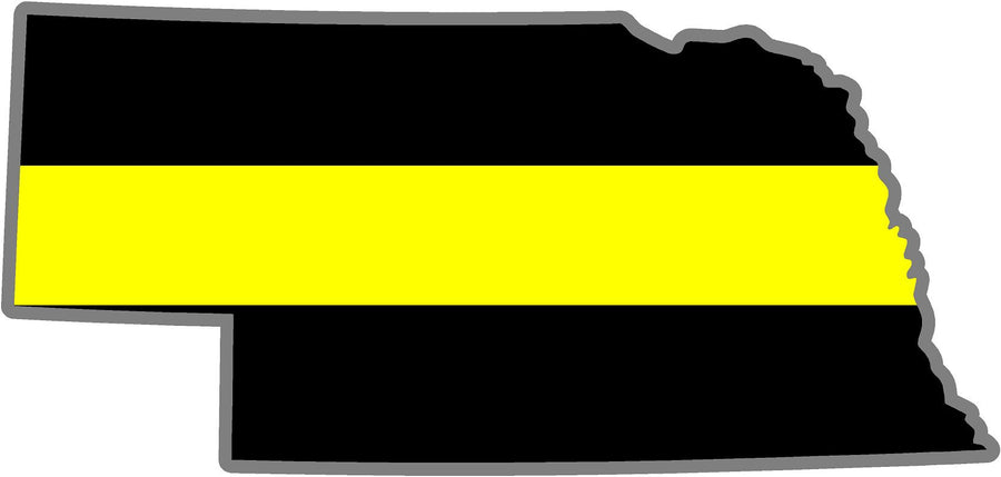 "5"" Nebraska NE Thin Yellow Line Black State Shape Sticker"