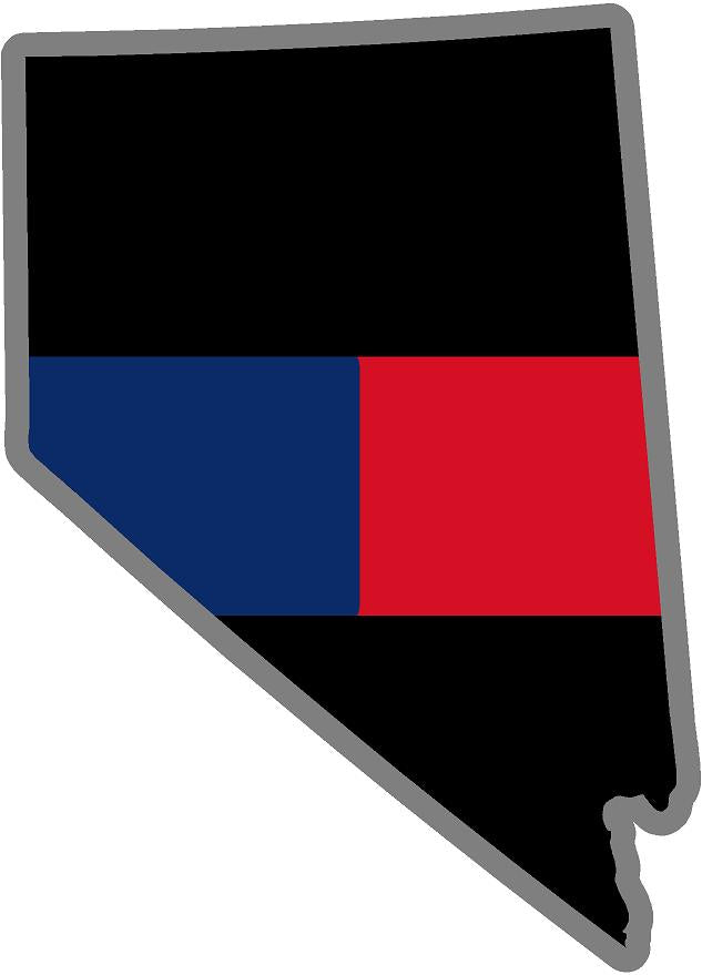 "5"" Nevada NV Thin Blue / Red Line Black State Shape Sticker"