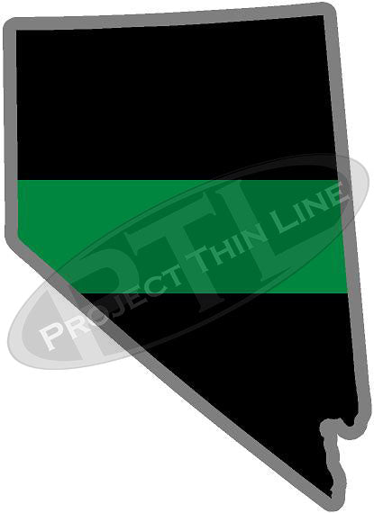 "5"" Nevada NV Thin Green Line Black State Shape Sticker"