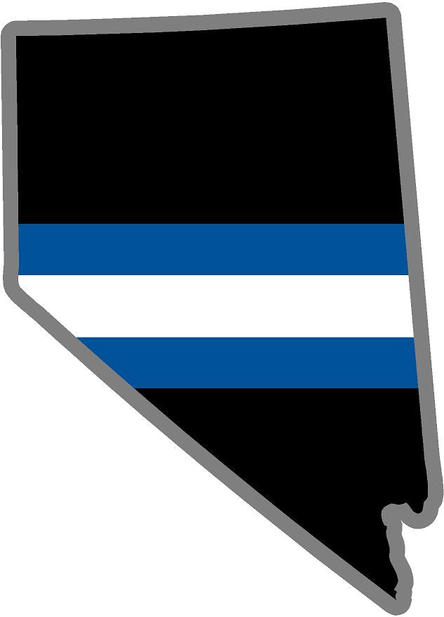 "5"" Nevada NV Thin Blue White Line Black State Shape Sticker"