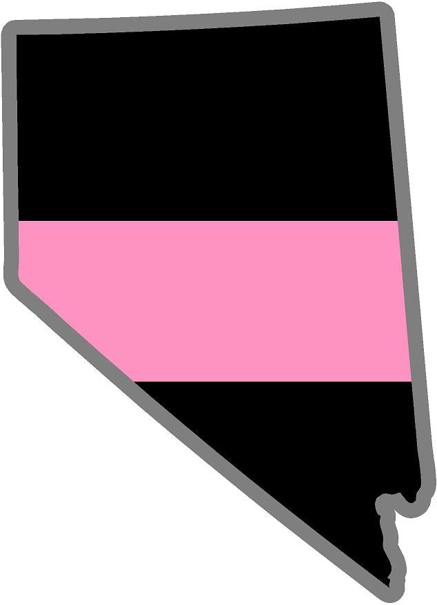 "5"" Nevada NV Thin Pink Line Black State Shape Sticker"