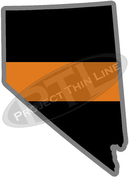 "5"" Nevada NV Thin Orange Line Black State Shape Sticker"