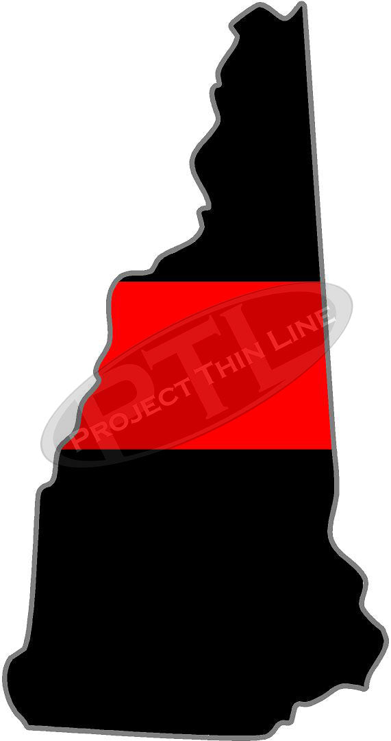 "5"" New Hampshire NH Thin Red Line State Sticker Decal"