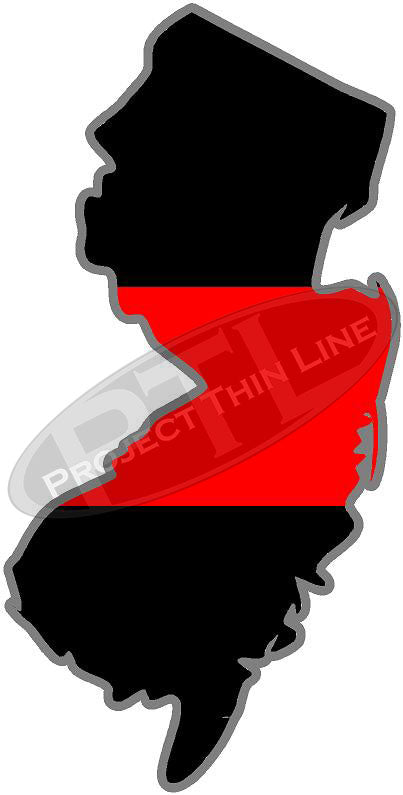"5"" New Jersey NJ Thin Red Line State Sticker Decal"
