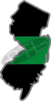 "5"" New Jersey NJ Thin Green Line Black State Shape Sticker"