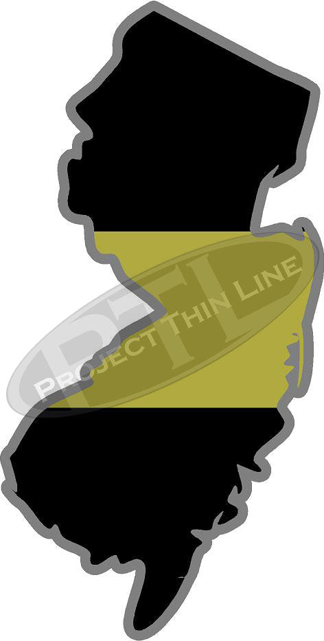 "5"" New Jersey NJ Thin Gold Line State Sticker Decal"