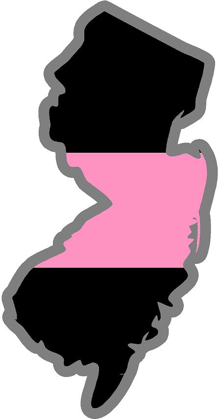 "5"" New Jersey NJ Thin Pink Line Black State Shape Sticker"