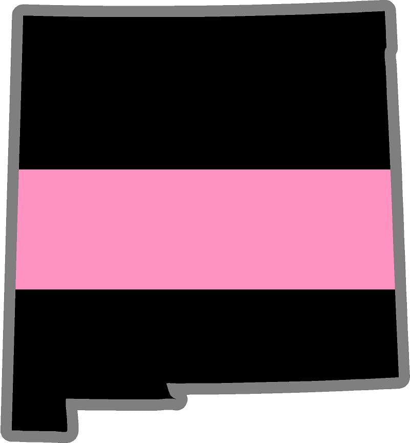 "5"" New Mexico NM Thin Pink Line Black State Shape Sticker"