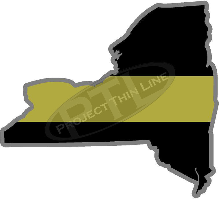 "5"" New York NY Thin Gold Line State Sticker Decal"