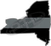 "5"" New York NY Thin Silver Line Black State Shape Sticker"