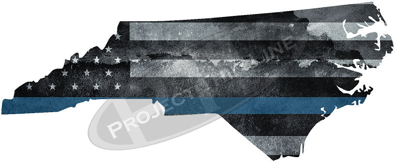 "5"" North Carolina NC Tattered Thin Blue Line State Sticker Decal"