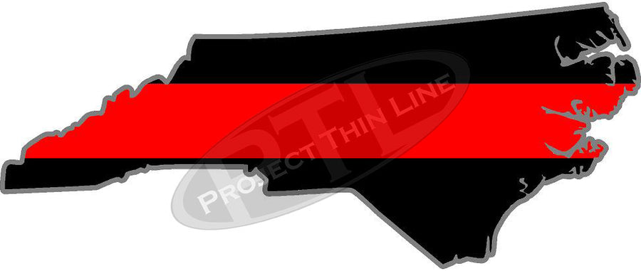 "5"" North Carolina NC Thin Red Line State Sticker Decal"