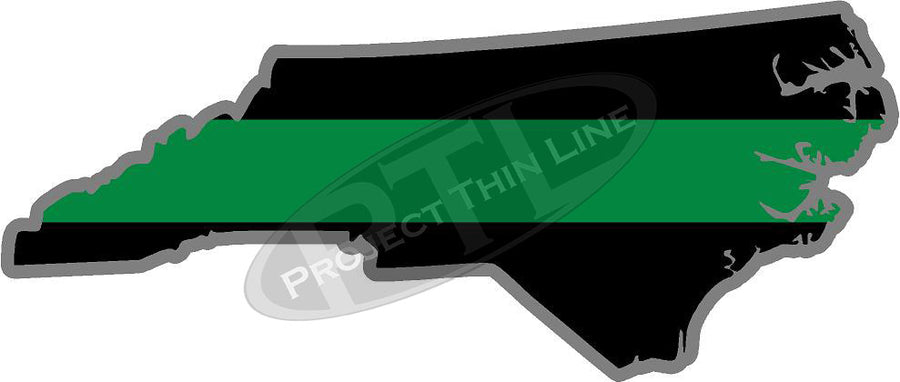 "5"" North Carolina NC Thin Green Line Black State Shape Sticker"
