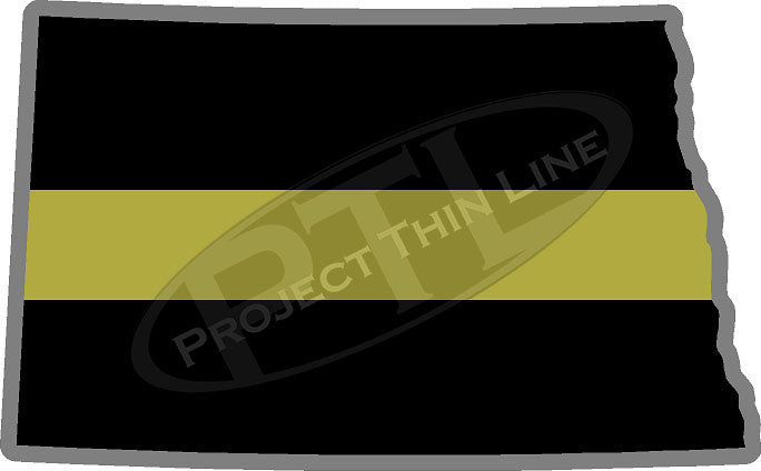 "5"" North Dakota ND Thin Gold Line State Sticker Decal"