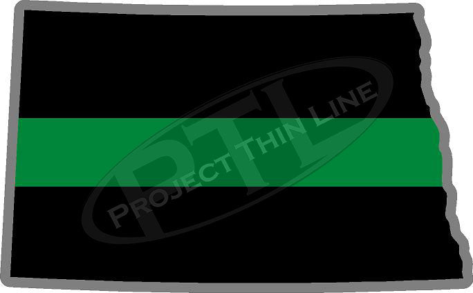 "5"" North Dakota ND Thin Green Line Black State Shape Sticker"