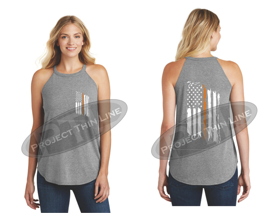 Black Tattered Thin ORANGE Line American Flag Rocker Tank Top