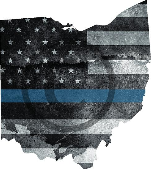 "5"" Ohio OH Tattered Thin Blue Line State Sticker Decal"