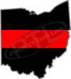 "5"" Ohio OH Thin Red Line State Sticker Decal"