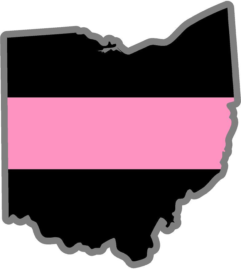 "5"" Ohio OH Thin Pink Line Black State Shape Sticker"
