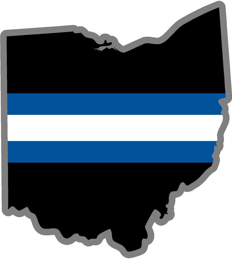 "5"" Ohio OH Thin Blue White Line Black State Shape Sticker"