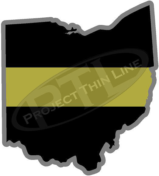 "5"" Ohio OH Thin Gold Line State Sticker Decal"
