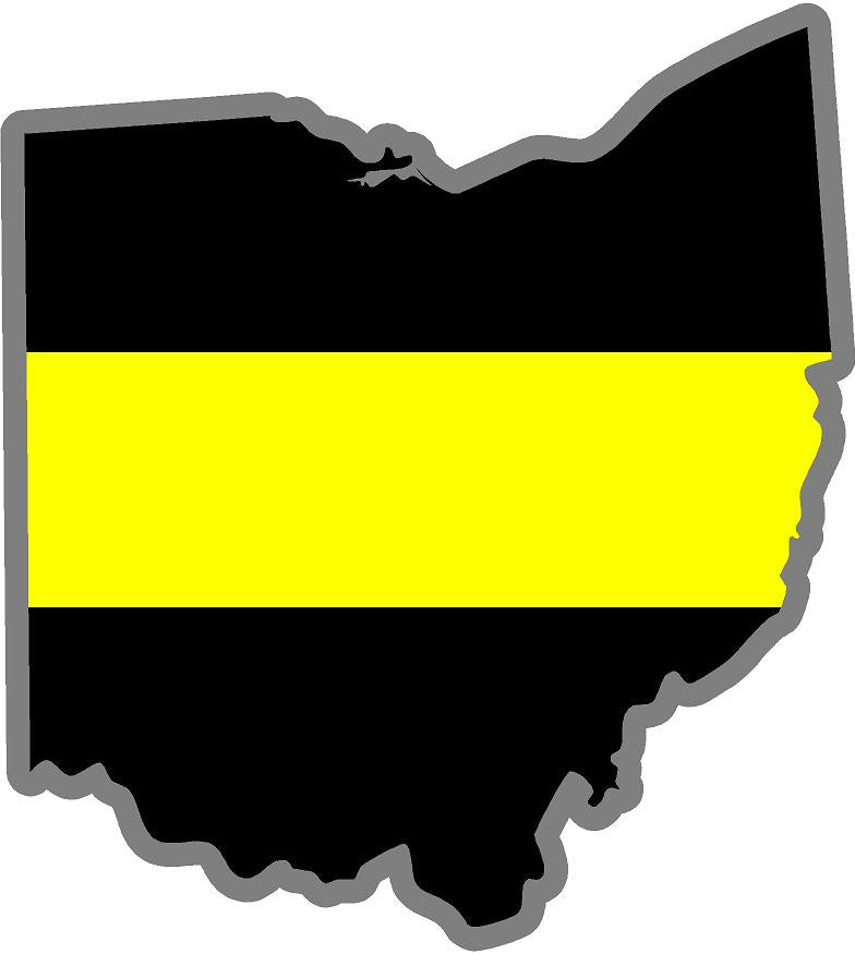 "5"" Ohio OH Thin Yellow Line Black State Shape Sticker"