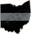 "5"" Ohio OH Thin Silver Line Black State Shape Sticker"