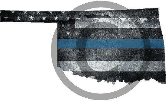 "5"" Oklahoma OK Tattered Thin Blue Line State Sticker Decal"