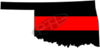 "5"" Oklahoma OK Thin Red Line State Sticker Decal"