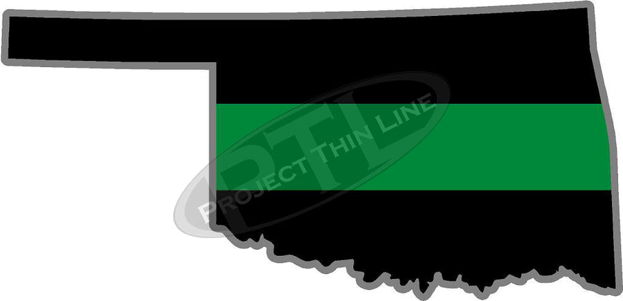 "5"" Oklahoma OK Thin Green Line Black State Shape Sticker"
