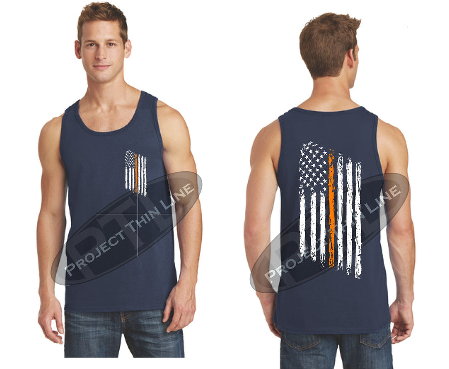 Black Thin ORANGE Line Tattered American Flag Tank Top