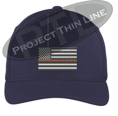 Navy Blue Embroidered Thin ORANGE Line American Flag Flex Fit Fitted Baseball Hat