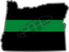 "5"" Oregon OR Thin Green Line Black State Shape Sticker"