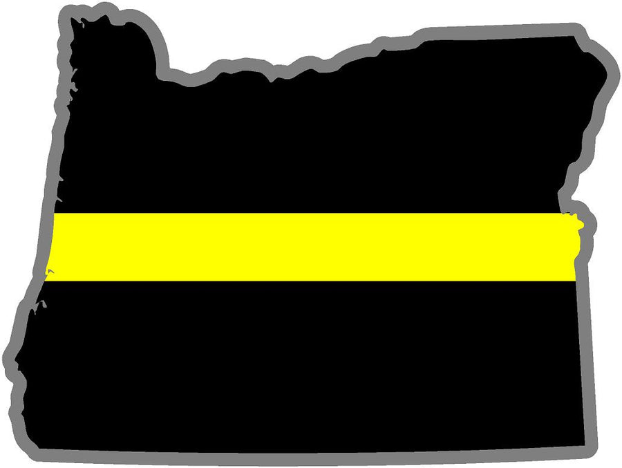 "5"" Oregon OR Thin Yellow Line Black State Shape Sticker"