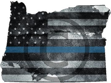 "5"" Oregon OR Tattered Thin Blue Line State Sticker Decal"