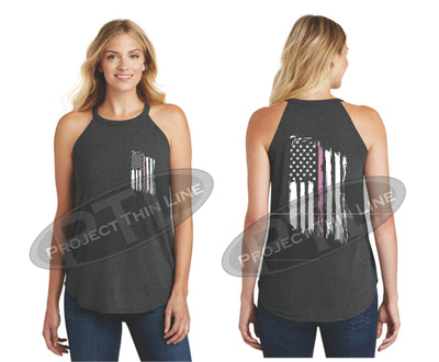 Black Tattered Thin PINK Line American Flag Rocker Tank Top