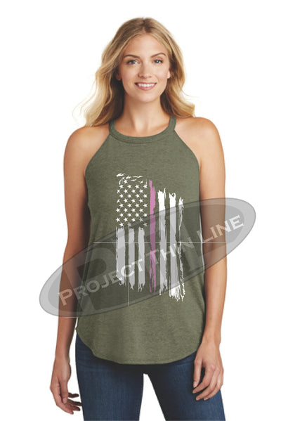 OD Green Tattered Thin PINK Line American Flag Rocker Tank Top - FRONT