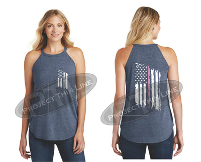 Navy Tattered Thin PINK Line American Flag Rocker Tank Top